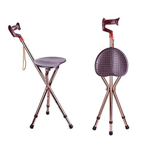 FHISD Asiento de bastón Plegable, bastón Ligero de Tres Patas de Altura Ajustable con Asiento, Silla con muleta/Taburete para Personas Mayores discapacitadas