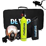 Botellas de buceocon Máscara de buceo Mini Cilindro de oxígeno de Buceo, Kit de Equipos de Tanque de Buceo portátil de 1L con 15-20 Minutos de respiración subacuática, Equipo de respirador de Buceo