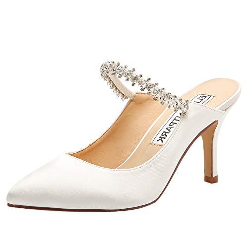 ElegantPark Wedding Shoes for Bride Pointed Toe Mules Bridal Shoes High Heels for Women Pumps Satin Evening Dress Shoes Ivory US 7