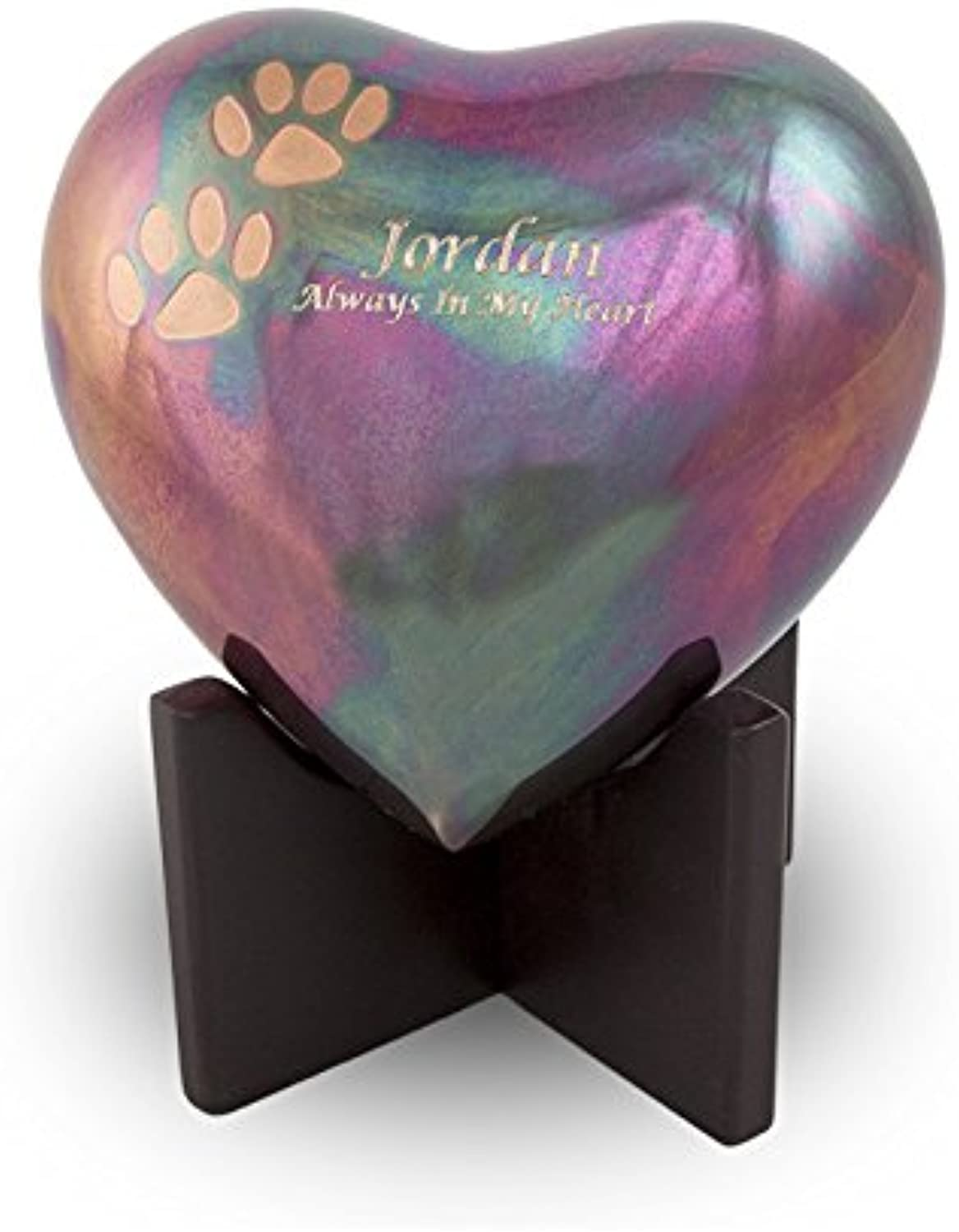 OneWorld Memorials Arielle Raku Finish with Paw Prints Bronze Heart Pet Urn  Small  Holds Up to 20 Cubic Inches of Ashes  Raku bluee Pet Cremation Urn for Ashes  Engraving Sold Separately