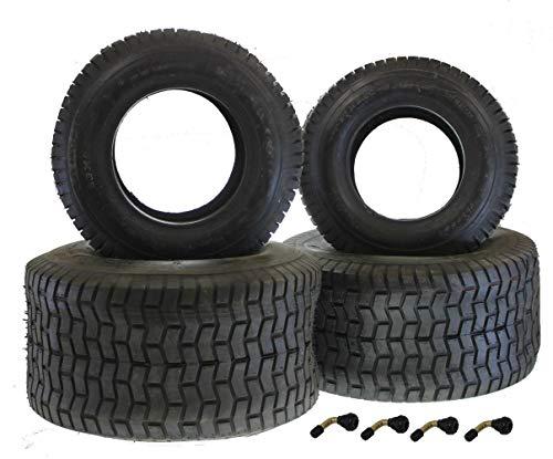 Reifen Satz für Rasenmäher Traktor 2x Reifen 16,65-8 + 2x Reifen 20x10-8 + 4x Winkel-Ventil Rasentraktor Aufsitzmäher