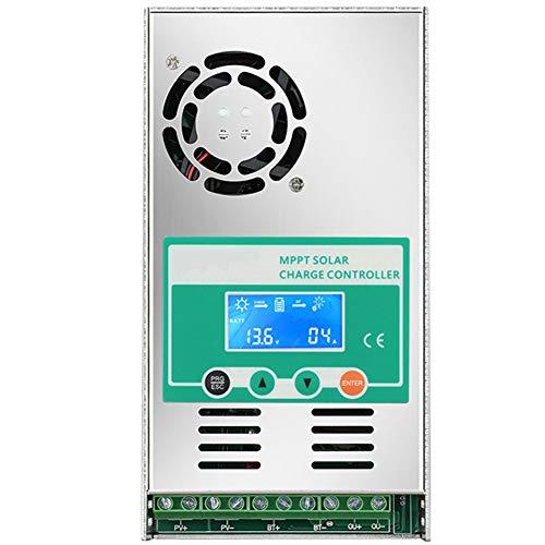 EastMetal Controlador de Carga Solar, MPPT 60A Regulador de Carga Solar Inteligente, 12V/24V/36V/48V Regulador de Carga Solar con 10 Terminales y Cuerpo Aleación de Aluminio, para Batería