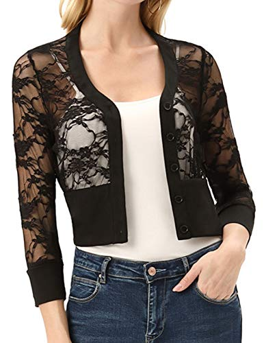 Women's 3/4 Sleeve Lace Shrug Bolero Open Front Cropped Tops(XL,Black Lace)