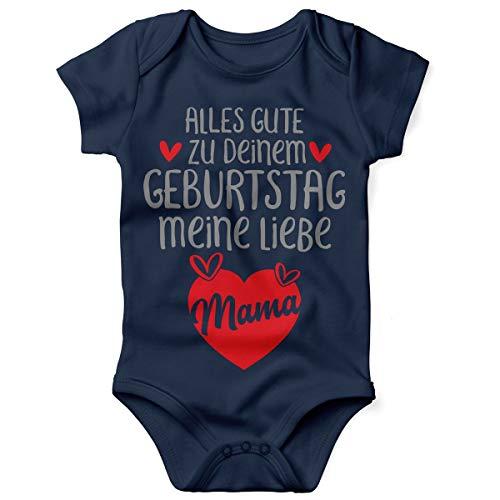 Mikalino Babybody mit Spruch für Jungen Mädchen Unisex Kurzarm Alles Gute zu deinem Geburtstag Meine Liebe Mama. | handbedruckt in Deutschland, Farbe:Navy, Grösse:62