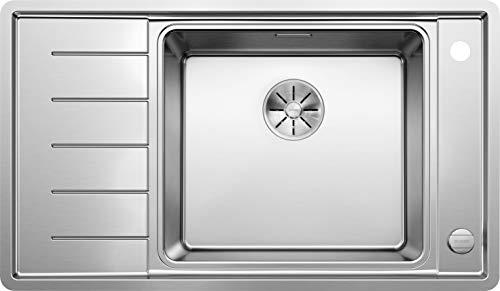 BLANCO Andano XL 6 S-IF Compact, Küchenspüle, Becken rechts, mit InFino-Ablaufsystem, Ablauffernbedienung und Multifunktionsschale, Edelstahl Seidenglanz; 523001