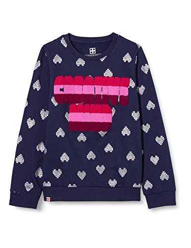 LEGO Mädchen MWb Kapuze und Glitzerdruck Sweatshirt, 590 Dark Navy, 140