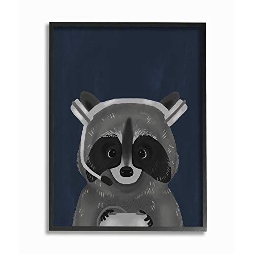 Stupell Industries Racoon with Gaming Headset Children's Blue Grey Animal, Designed by Daphne Polselli Wall Art, 24 x 30, Black Framed