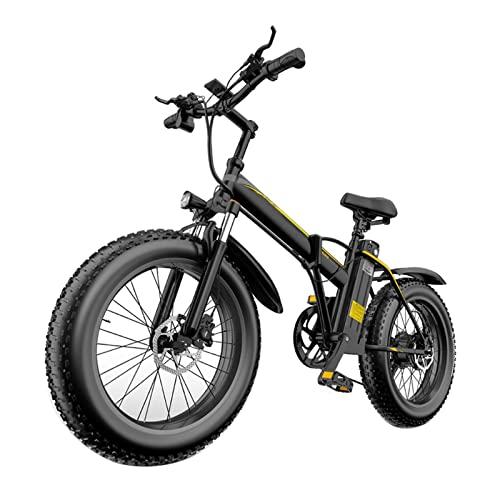 HMEI Bicicleta eléctrica 1000W 12.8Ah Batería Bicicleta de montaña 48V Motor sin escobillas Bicicleta de Nieve 20 Pulgadas Neumático E Bicicletas (Color : Negro)