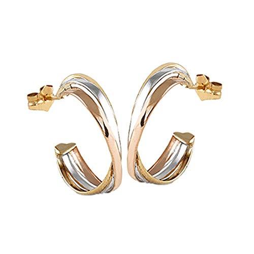 Pendientes oro tricolor 18k colección Sena aros abiertos 10mm. triple banda cruzadas cierre presión