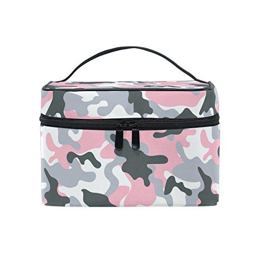 Sac de maquillage, Rose Camouflage Imprimé Cosmétique de stockage de toilette Organiseur Coque Grande Poignée de voyage personnalisé Pouch avec compartiments pour Teenage Girl Femme Lady