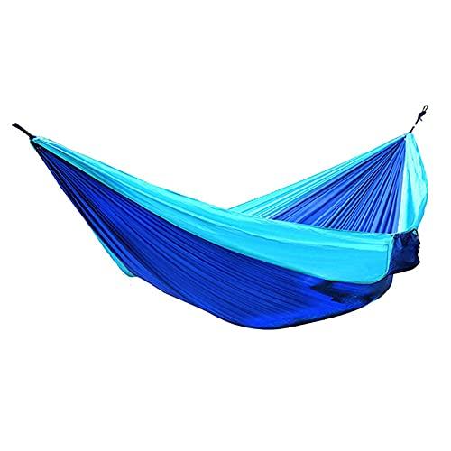 DSMGLSBB Hamaca Doble, Hamaca de Camping de jardín al Aire Libre, Hamaca de Nylon de paracaídas con Correas para mochileros, Viajes, Playa, Patio, Senderismo,Azul