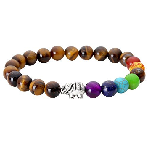 Jovivi Schmuck,Lava-Armband Damen Herren Reiki-Energietherapie Armreif 7 Chakra Healing Buddha-Armband,Tigerauge mit Silber Elefant