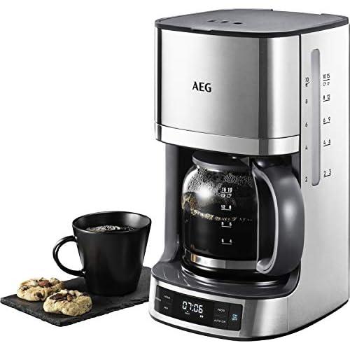 AEG KF 7700 Macchina da caffè (timer programmabile, display LCD, funzione aroma, filtro permanente, facile da riempire, indicatore livello acqua e caffè dosato, 1,375 l, acciaio inox spazzolato