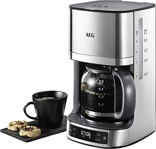 AEG KF 7700 Kaffeemaschine (Programmierbarer Timer, LCD-Display, Aroma-Funktion, Permanentfilter, einfaches Befüllen, Wasserstands- und Kaffedosierungs-Anzeige, 1,375 l, gebürstetes Edelstahl)