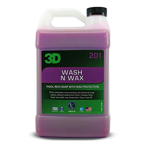 3D Wash N Wax - 1 Gallon | Concentrated All-in-One Car Wash & Wax Automotive Shampoo & Conditioner | Paint Cleaner & Protection | Made in USA | All Natural | No Harmful Chemicals