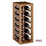 ZonaWine - Resistente Botellero apilable para 12 Botellas en Madera Pino/Roble, Mueble para Vino Cocina o Bodega 65/24/32 cm...