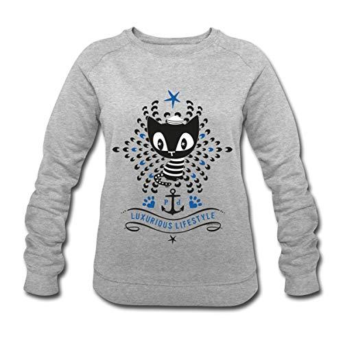 Pussy Deluxe Katze als Matrose Frauen Bio-Sweatshirt von Stanley & Stella, L, Rosa-Creme meliert