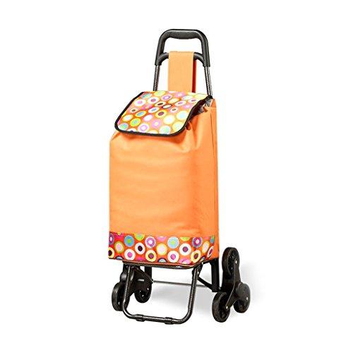 JU FU Sackkarre Trolley dreirädrige kletternde Treppe-Einkaufswagen-faltendes Supermarkt-Auto-tragbares Gepäck-Auto-Gewicht ungefähr 30 Kilogramm 2 Farben Wagen (Color : Orange)