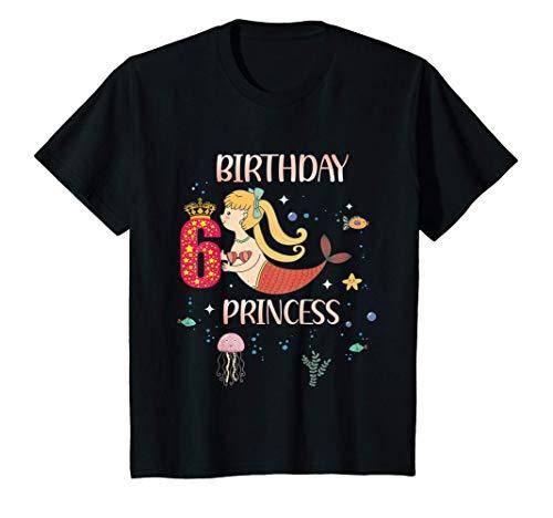 Niños 6 Cumpleaños Sirena Niñas 6 años Regalo de cumpleaños Camiseta