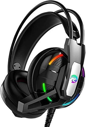 Zixin Auriculares, PS4 Juego de Auriculares con micrófono de 7.1 Canales de luz, diseño ergonómico sobre los Auriculares del oído for la Playstation 4, PC portátil Etc, Color: Negro (Color: Negro)
