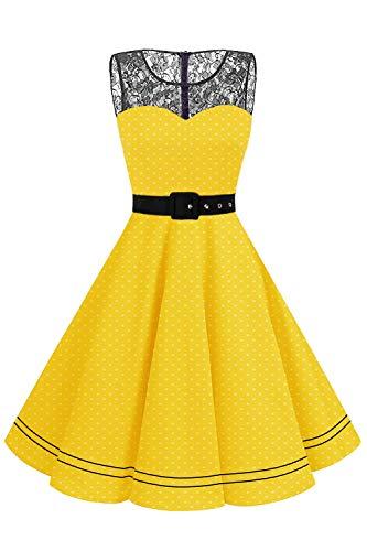 AXOE Damen Cocktailkleid Elegant für Hochzeit Rockabilly Kleid Ärmellos Gelbes mit Weiß Gepunktet Größe 38, M