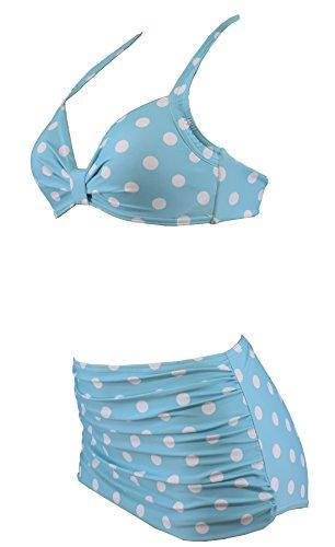 Aloha-Beachwear Polka Dots Vitage Look High Waisted Damen Neckholder Bikini A1061, gepunktet (L / 40 / UK 14, Türkis / Weiss) - 2