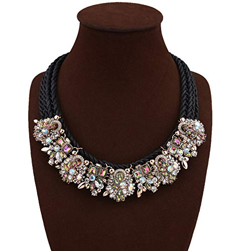 SHUFEI Europa moda retro elegancki wykwintny urok kołnierz biżuteria łańcuszek błyszczący kryształ choker naszyjnik dla kobiet Black+AB