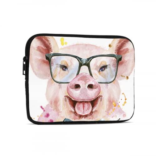 iPad Mini Accesorios Dibujos Animados Pink Pig Wear Gafas Estuche con Cremallera Compatible con iPad 7.9/9.7 Pulgadas Bolsa Protectora de Tableta de Neopreno a Prueba de Golpes con asa y Correa