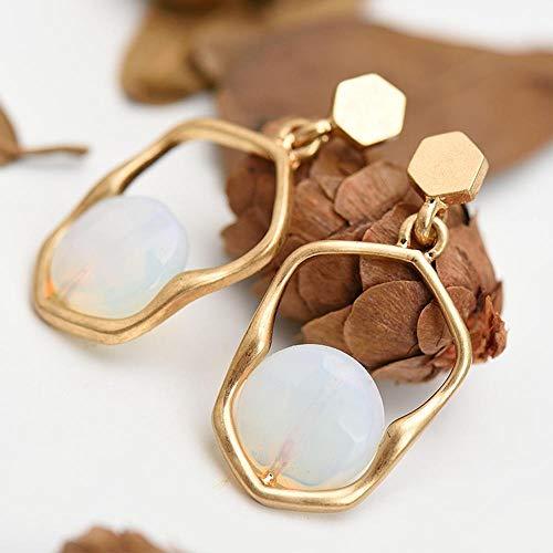 Daeou Damen Ohrringe Stein-Legierung Ohr Naturnagel 35mm Gold brennenden Prozess Einfach Persönlichkeit Fashion Ohrringe