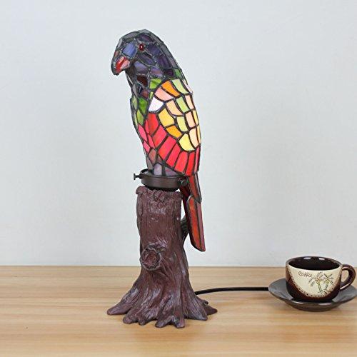 European creative Parrot avec lampe de table à souche d'arbre Lampe pour enfants Night Light - Rouge et vert