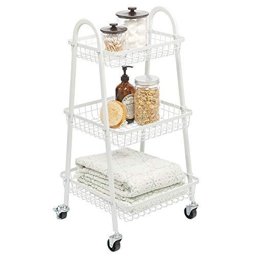 mDesign Carrito auxiliar de metal – Carro de cocina móvil con 3 cestas para almacenaje adicional – Carro verdulero, también práctico en la habitación infantil o el baño – blanco mate