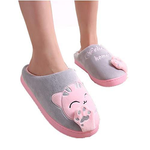 Stillshine Hausschuhe 3D Katze Plüsch Pantoffel Warme Winter Indoor Rutschfeste Hause Kuschelige Slippers Für Damen/Kind (Grau/Pink, EU 23 [Innere länge 21.5 cm])