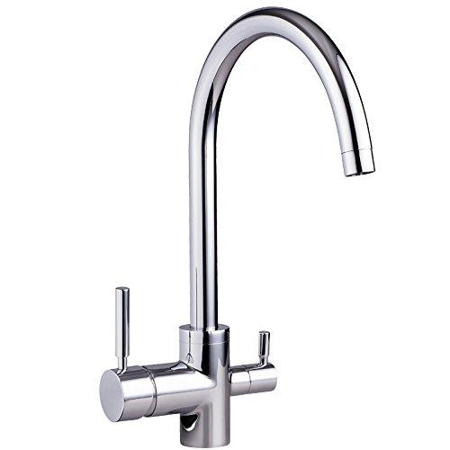 3-Wege-Wasserhahn NEGRO Chrom für kaltes, heißes und gefiltertes Wasser Für Osmoseanlagen Trinkwasseranlagen