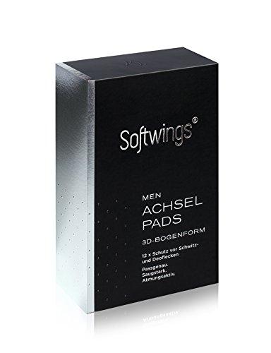 3D Achselpads Herren von Softwings - 12 Stück - Samtweiche weiße Pads in patentierter Bogenform inkl. Reise-Etui
