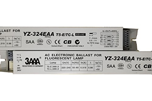 3AAA 220–240V AC Elektronisches Vorschaltgerät Standard rectifiers für Leuchtstofflampe t5-e TC-L 3x A, 24W Aquarium und Werbung Lampe Box yz-324eaa, weiß Farbe