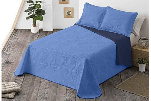 Energy Colors Textil-Hogar - Chil Cama 150 y 135 (250 x 265 cm) - Colcha Boutí Verano Reversible Liso Bicolor con 2 Funda Cojín 50 x 70 cm (Azul)