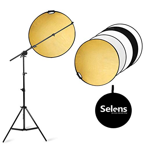 Selens Photography Reflector Holder Arm Stand kit, 24 inches 5 in 1 reflectors with 78 inches Light Stands and Extendable Arm Clips for Photo Studio Video Lighting