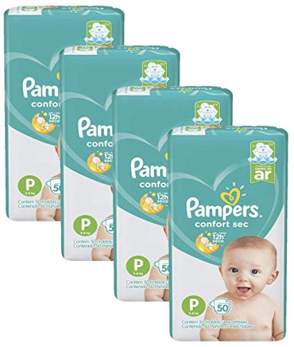 Kit Com 4 Fraldas Pampers Confort Sec Tamanho P Com 200 Unidades