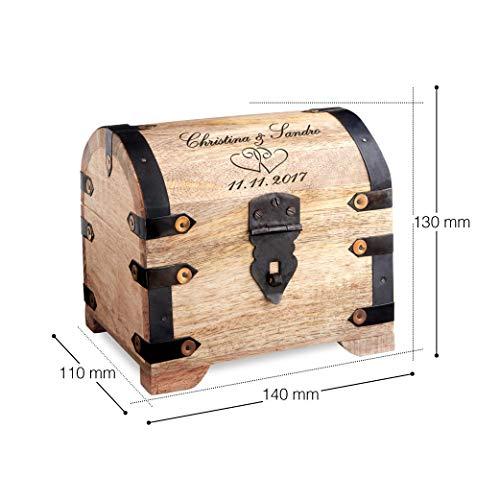 Casa Vivente – Geld-Schatztruhe mit Gravur zur Hochzeit – Motiv: Herzen – Personalisiert mit [Namen] und [Datum] – Schmuckkästchen aus hellem Holz – Verpackung für Geldgeschenke – Hochzeitsgeschenke - 7