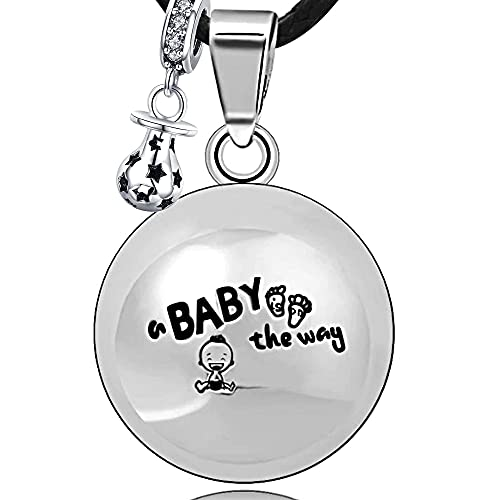 Bola de embarazo con cordón y cascabel, collar para mujer, altavoz con campanilla, colgante armónico, llamador de ángeles, joya musical, campanilla para maternidad, regalo (114 cm, ARG-BABY)