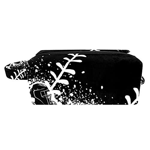 Waschtasche Kulturtasche Reise Kosmetiktasche Dauerhaft Kosmetiktasche Make-up Organizer Fächern Für Frauen Mädchen Rugby-Kunst 21x8x9 cm