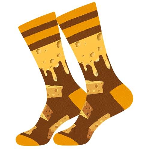 Calcetines Hombre Divertidos - Queso Personalizados Originales Dibujos Estampados Graciosos Frikis Colores Arte Comida Crossfit Algodon Calcetines - Regalos Navidad Originales para Adolescentes