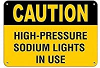 注意使用中の高圧ナトリウムランプ。金属スズサイン通知道路交通道路危険警告耐久性、防水性、防錆性