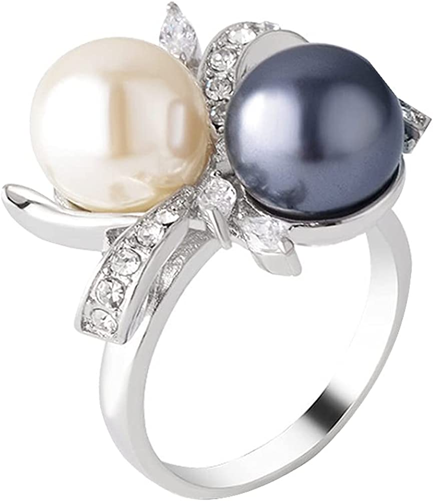 Black White Pearl Flower Ring Crystal Cocktail Statement Rings Uniquely Stylish Fashion Creative Jewelry for Women Girl