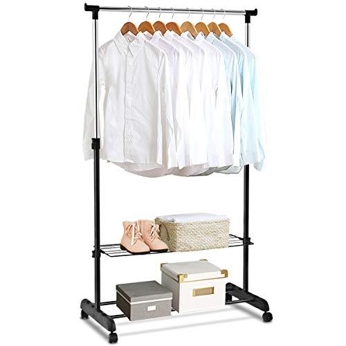 RELAX4LIFE 2 in 1 Kleiderständer mit 2 Schuhablage, Wäscheständer auf Rollen mit Bremsen, Kleiderwagen mit Kleiderstange, höhenverstellbarer Garderobenständer, für Schlafzimmer & Flur, schwarz