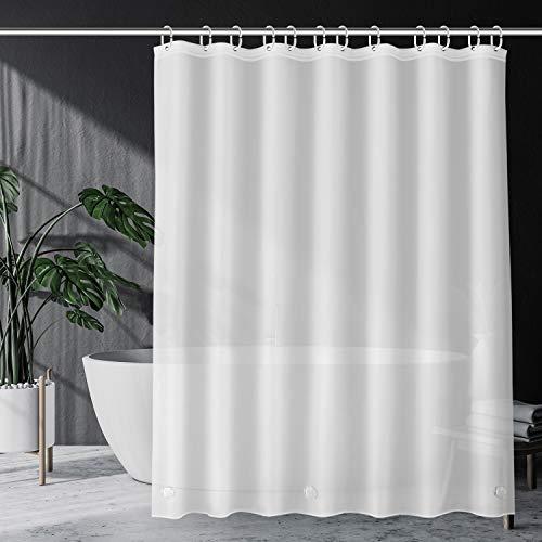 SPARIN Duschvorhang Anti-Schimmel [180x200cm], PEVA wasserdichter Badvorhang mit 12 Duschvorhangringen, [Anti-Schimmel] [Anti-Bakteriell] [Umweltfre&lich] [Waschbar] [Weiß]