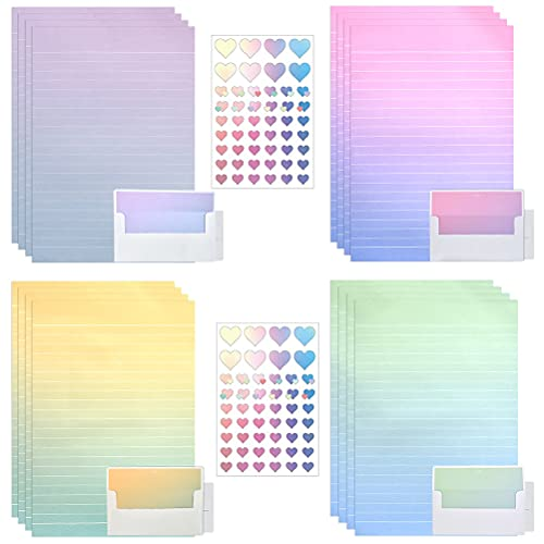 ATPWONZ 72 Pack Colorful Stationery Paper, Stationery Paper and Envelopes Set - (48 Stationery Paper + 24 Envelopes) Letter Set for Writing Poems Lyrics Wedding Invitations Birthdays Christmas Cards