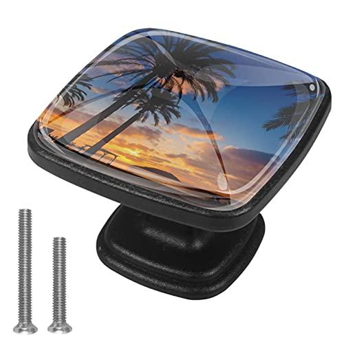 Tiradores cajón cristal 4 piezas perillas gabinete,Mallorca Sunrise en Magaluf Palm Anova Beach ,para puerta cocina escritorio tocador