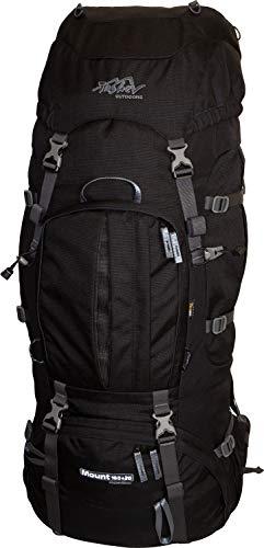 Tashev Outdoors Mount Sac à Dos de Trekking, pour la randonnée, Backpacker pour Femme et Homme de 100l Extensible Jusqu' à 120l avec Housse de Pluie (Fabriqué en UE) (Noir)