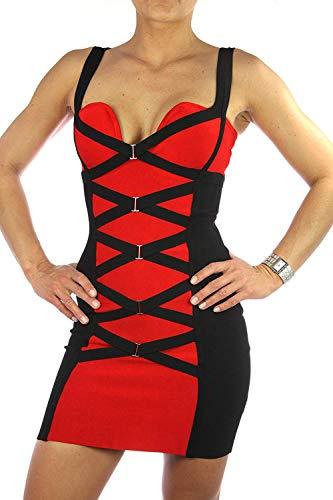 Celebrity Couture Bandage Kleid Kim Kardashian Korsettkleid schwarz-rot, Women Dress